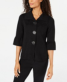 Petite Textured Three-Button Jacket, Created for Macy's