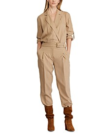 Trench-Look Twill Jumpsuit