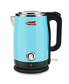 Americana 1.7L Blue Cool Touch Stainless Steel Electric Kettle with Temperature Gauge