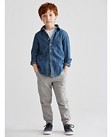 Little Boys Chambray Shirt, Crewneck T-Shirt & Fleece Jogger Pants
