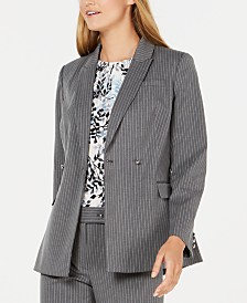 Calvin Klein Pinstriped Double-Breasted Blazer