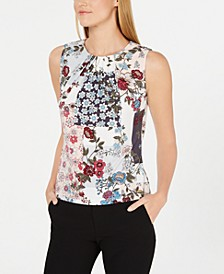 Sleeveless Floral Print Pleated Top