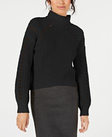 Embossed Chunky Mock-Neck Sweater