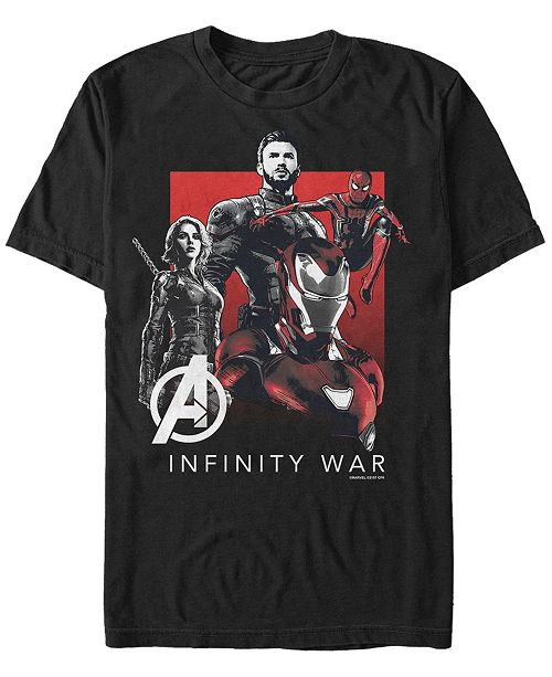 Marvel Men's Avengers Infinity War Black and Red Logo Group Shot Short Sleeve T-Shirt
