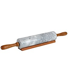 HDS Trading Marble Rolling Pin with Easy Grip Handles and Display Stand