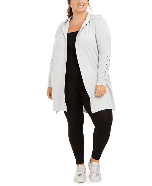 Ideology Plus Size Hooded Cardigan, Created for Macy's