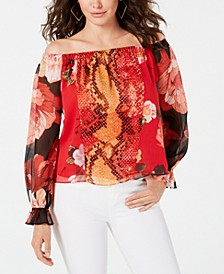 Off-The-Shoulder Snakeskin-Print Top