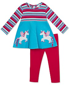 Rare Editions Baby Girls Striped Unicorn Tunic & Leggings Set