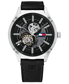 Men's Automatic Black Leather Strap Watch 44mm, Created For Macy's
