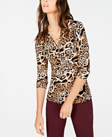 I.N.C. Petite Printed Twist-Front Top, Created for Macy's