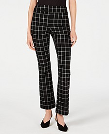 INC Petite Windowpane-Check Bootcut Pants, Created for Macy's