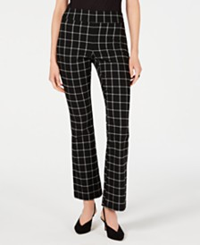 I.N.C. Petite Windowpane-Check Bootcut Pants, Created for Macy's