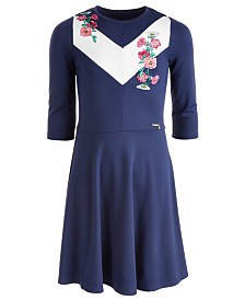 GUESS Big Girls Embroidered 3/4-Sleeve Dress
