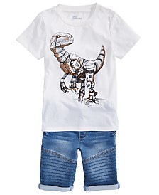 Epic Threads Little Boys Robot Dino T-Shirt & Stretch Denim Drawstring Moto Shorts, Created for Macy's