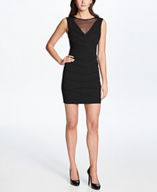 Scuba Crepe Illusion-Neck Sheath Dress with Mesh Cutouts
