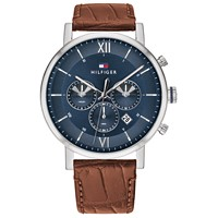 Deals on Tommy Hilfiger Mens Brown Leather Strap Watch 44mm