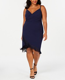 Betsey Johnson Trendy Plus Size Fringe-Trim Sheath Dress