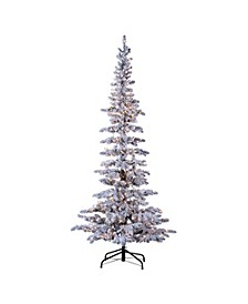 7.5ft. Pre-Lit Flocked Narrow Austin Pine with 400 Clear Lights