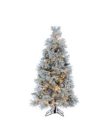 5Ft. Flocked Crystal White Pine Tree with Pine cones and 500 Warm White LED Micro Lights