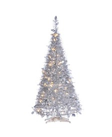 4-Foot High Pop Up Pre-Lit Silver Tinsel Tree with Holy Leaves