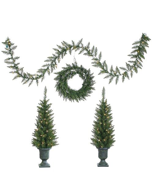 Sterling 4PC Norway Pine Set: Pre-Lit Potted Trees, Unlit Wreath, & Pre-lit Garland