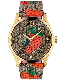 Gucci Women's Swiss G-Timeless Strawberry Print Canvas Strap Watch 38mm