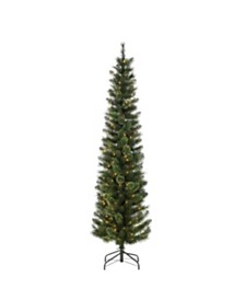 Sterling 7.5Ft Hard Mixed Needle Cashmere Pencil Tree with 200 Clear Lights