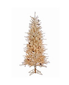 6Ft. Frosted Buttercream Hard Needle Slim Tree with Pinecones and 300 Clear Lights