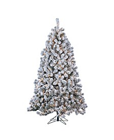 7ft. Pre-Lit Flocked Montana Pine with 500 Clear Lights
