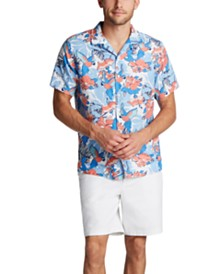 Nautica Men's Blue Sail Classic Fit Sailboat Print Camp Collar Shirt, Created for Macy's