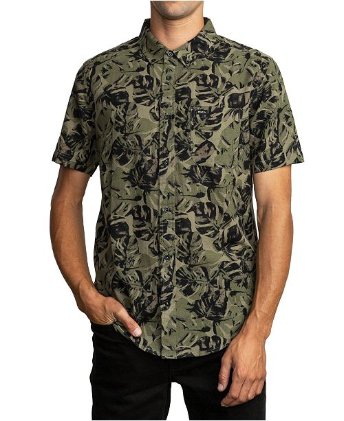RVCA Men's Leaf Camouflage Short Sleeve Shirt