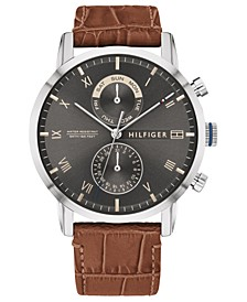 Men's Brown Leather Strap Watch 44mm