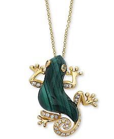 "EFFY® Malachite (18 x 9mm) & Diamond (1/10 ct. t.w.) 18"" Pendant Necklace in 14k Gold"