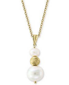 "EFFY® Cultured Freshwater Pearl (5-1/2 & 10mm) 18"" Pendant Necklace in 14k Gold"