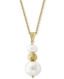 """EFFY® Cultured Freshwater Pearl (5-1/2 & 10mm) 18"""" Pendant Necklace in 14k Gold"""