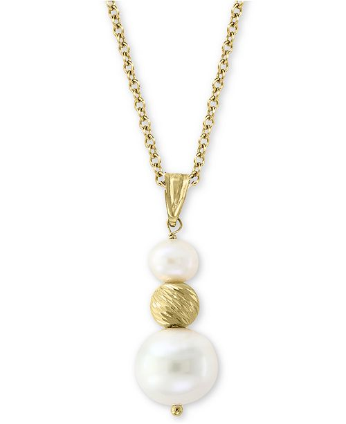 """EFFY Collection EFFY® Cultured Freshwater Pearl (5-1/2 & 10mm) 18"""" Pendant Necklace in 14k Gold"""