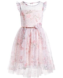 Little Girls Floral-Print Mesh Dress