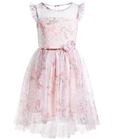 Pink & Violet Little Girls Floral-Print Mesh Dress