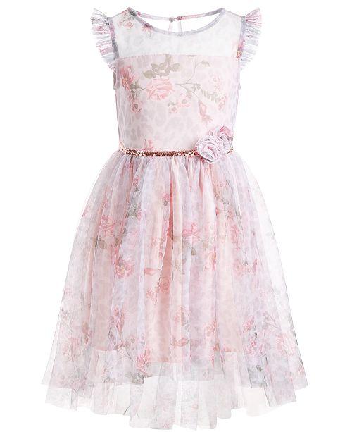 Pink & Violet Toddler Girls Floral-Print Mesh Dress