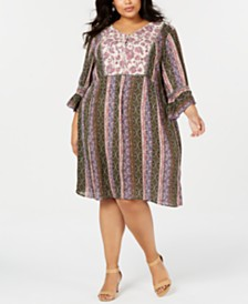 Style & Co Plus Size Mixed-Print Shift Dress, Created for Macy's