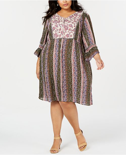 Plus Size Mixed-Print Shift Dress, Created for Macy\'s