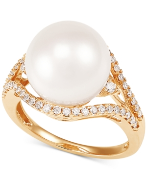 Cultured White Ming Pearl (12mm) & Diamond (1/3 ct. t.w.) Ring in 14k Gold