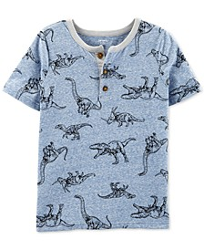 Little & Big Boys Dinosaur-Print Henley-Neck T-Shirt