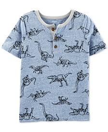 Carter's Little & Big Boys Dinosaur-Print Henley-Neck T-Shirt