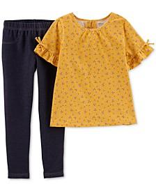 Little & Big Girls 2-Pc. Floral-Print Top &  Denim Jeggings Set