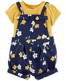 Carter's Baby Girls 2-Pc. Cotton Dot-Print T-Shirt & Floral-Print Shortalls Set