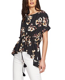 1.STATE Balloon-Sleeve Cinched-Waist Top