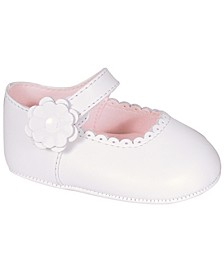 Baby Girl Leather Skimmer with Scalloped Toe and Flower Overlay
