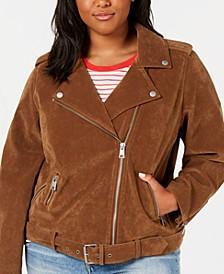 Trendy Plus Size  Faux-Suede Moto Jacket