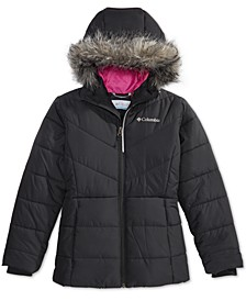 Big Girls Katelyn Crest Hooded Jacket With Faux-Fur Trim